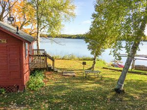 Cabin facing lake