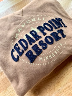 Cedar Point Resort tan and blue sweatshirt